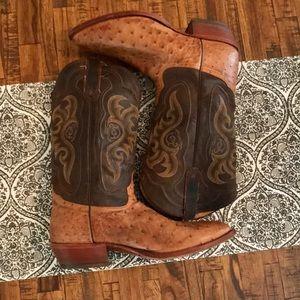 Tony Lama Ostrich Skin Western Boots